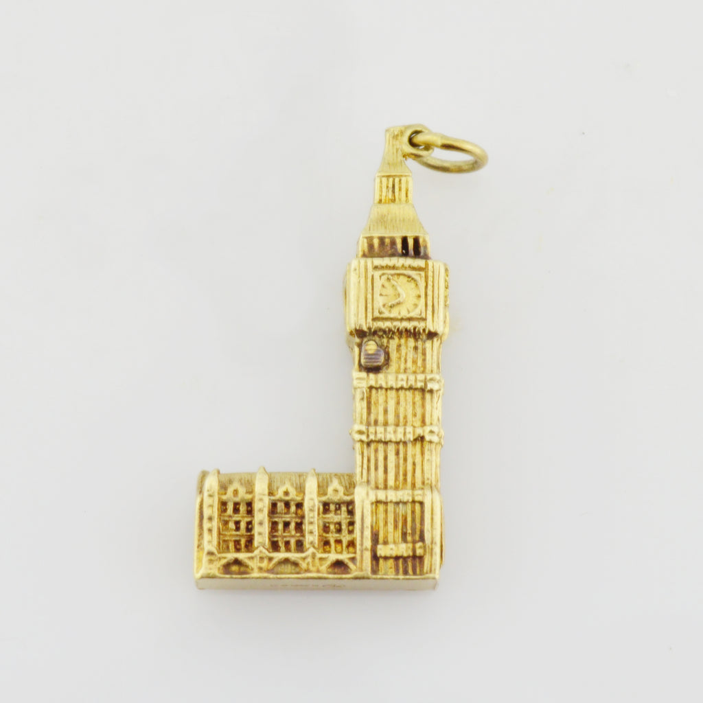 9k/9ct Yellow Gold Estate Big Ben Building London Keepsake/Travel Pendant