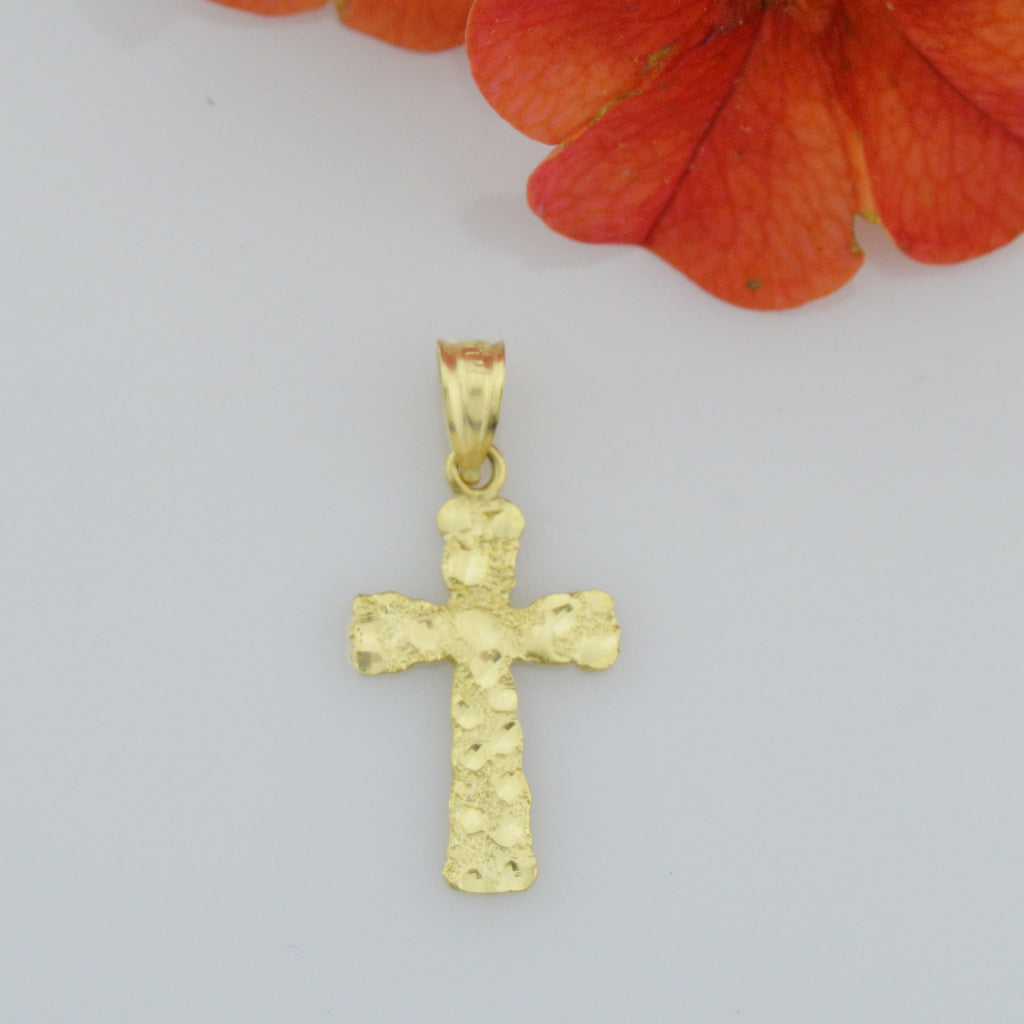 14k Yellow Gold Estate Textured Cross Religious Pendant/Charm