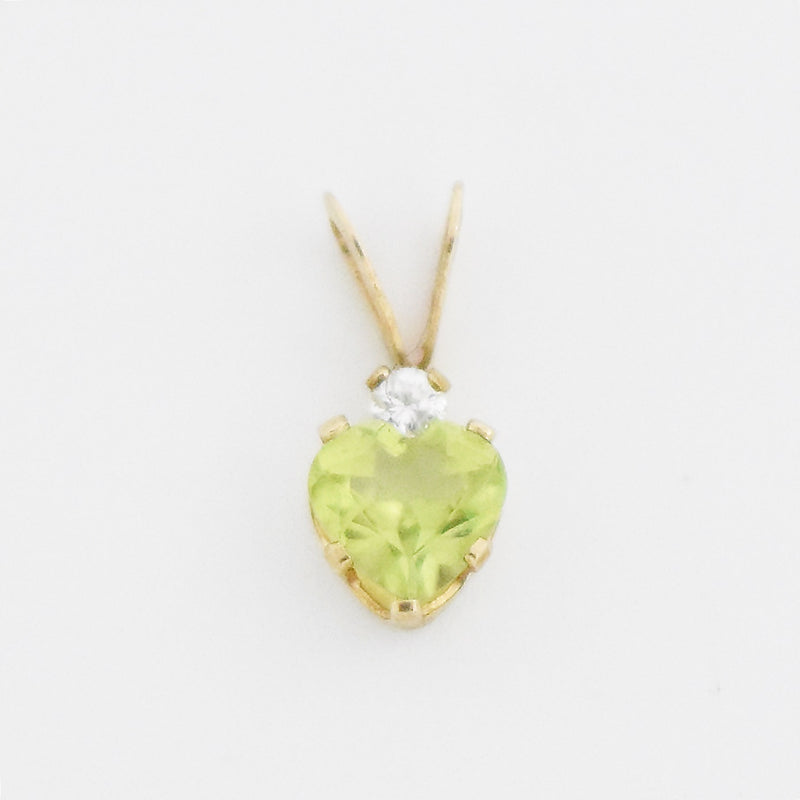 10k Yellow Gold Estate CZ & Heart Shape Peridot Pendant