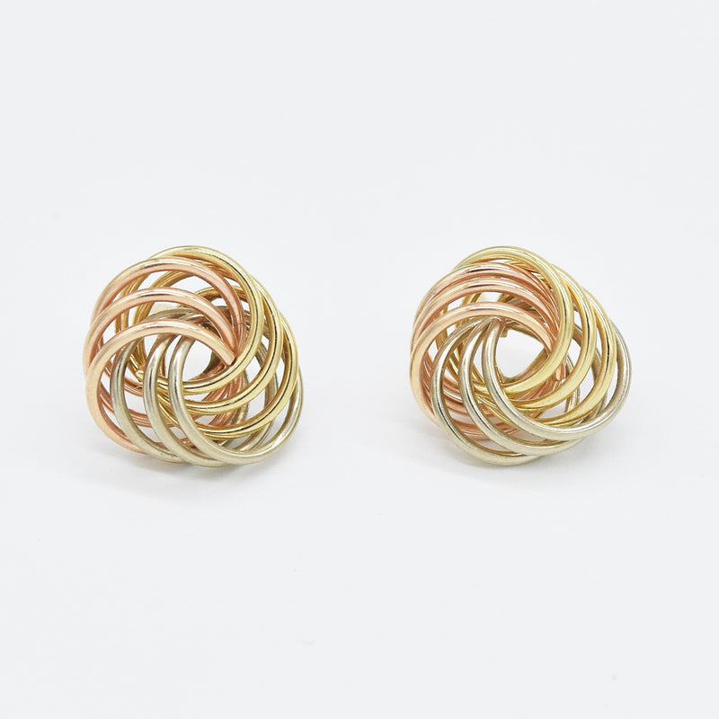14k Tri-Colored Gold Estate Love Knot Post Earrings