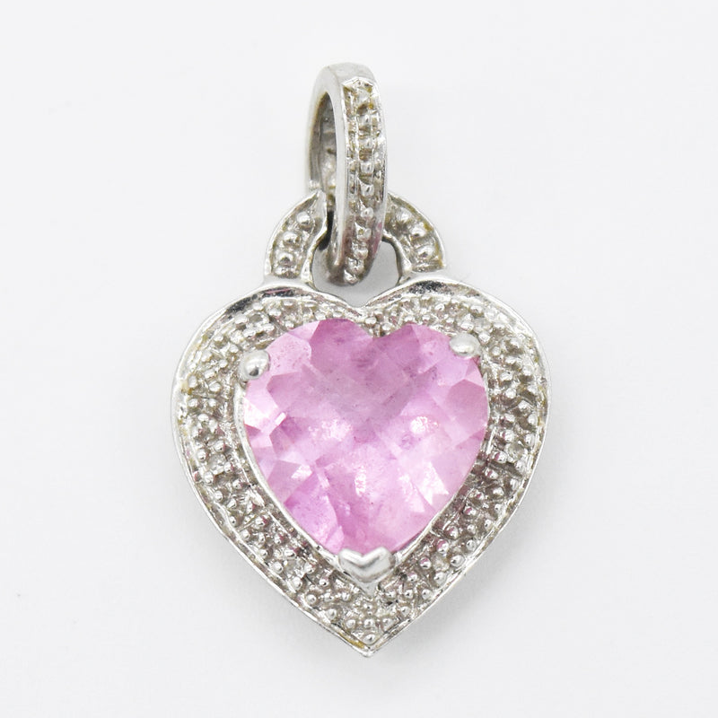 10k White Gold Estate Love Heart Shape Ruby & Diamond Pendant
