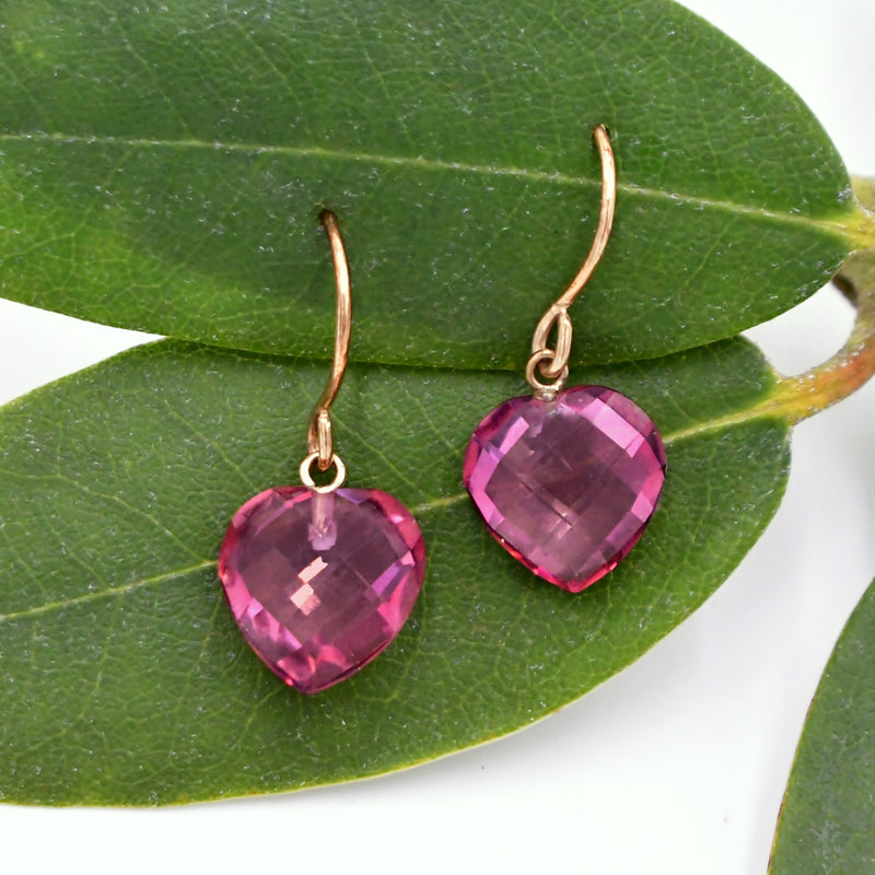 10k Yellow Gold Estate Cushion Cut Ruby Heart Drop/Dangle Earrings