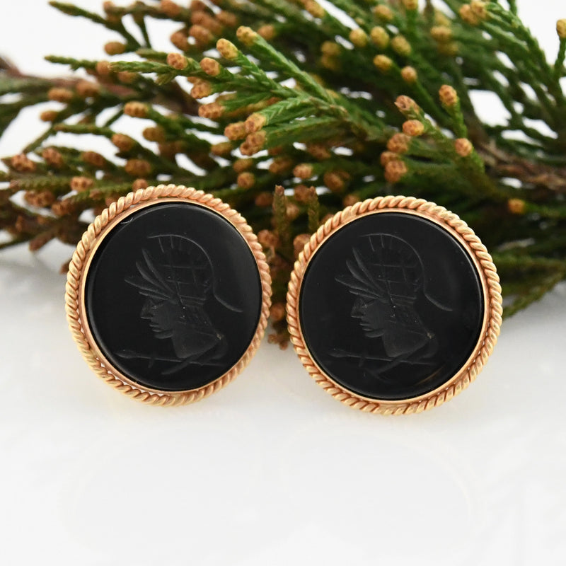 14k Yellow Gold Vintage Large Intaglio Cufflinks