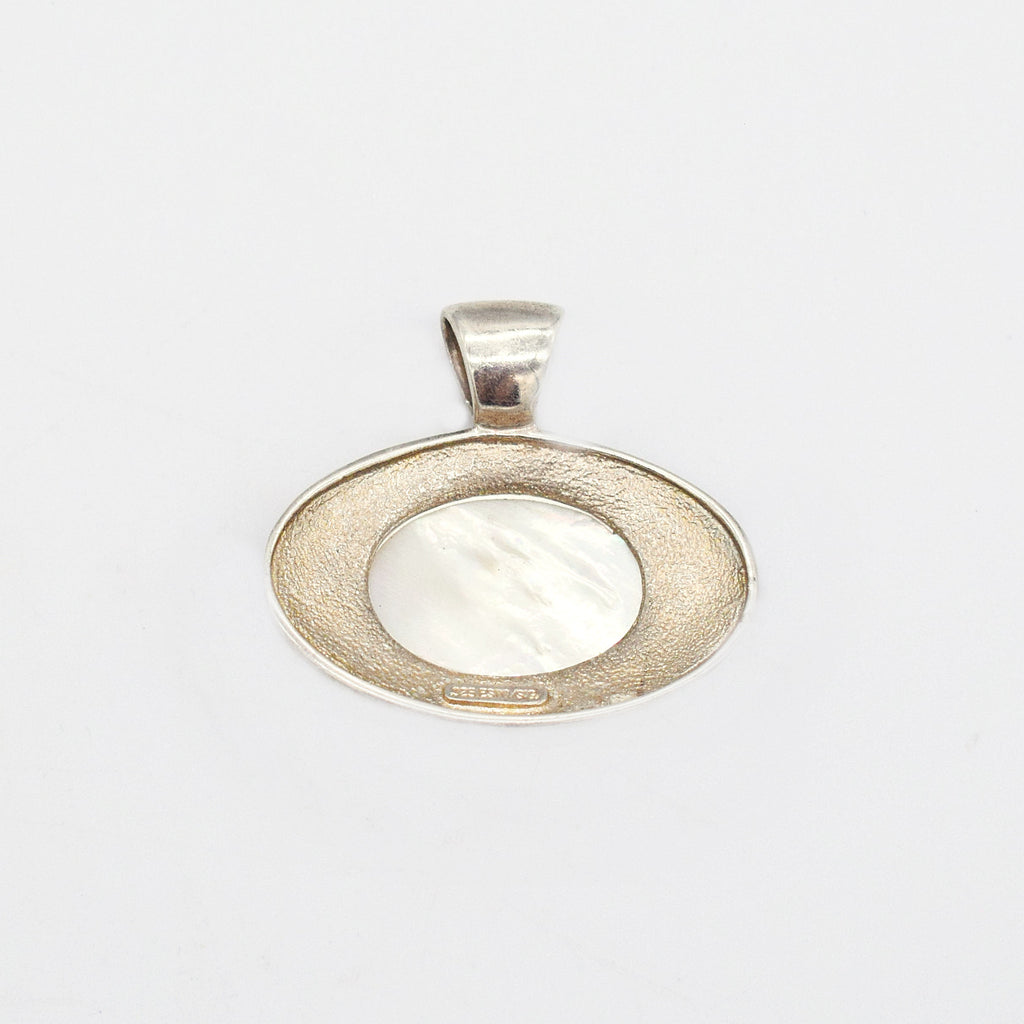 Sterling Silver 925 Estate Oval Mother Of Pearl Dangle/Drop Pendant