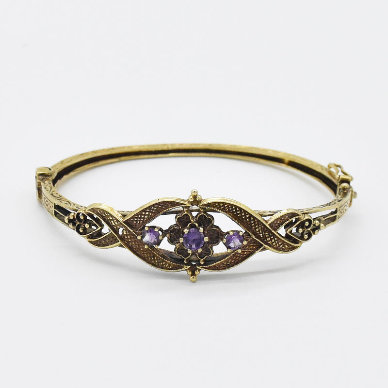 14k Yellow Gold Estate Ornate Purple Sapphire Hinged Bangle Bracelet