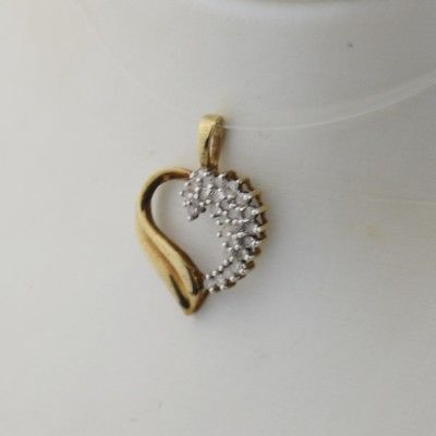 10k Yellow & White Gold Estate Diamond Heart Pendant