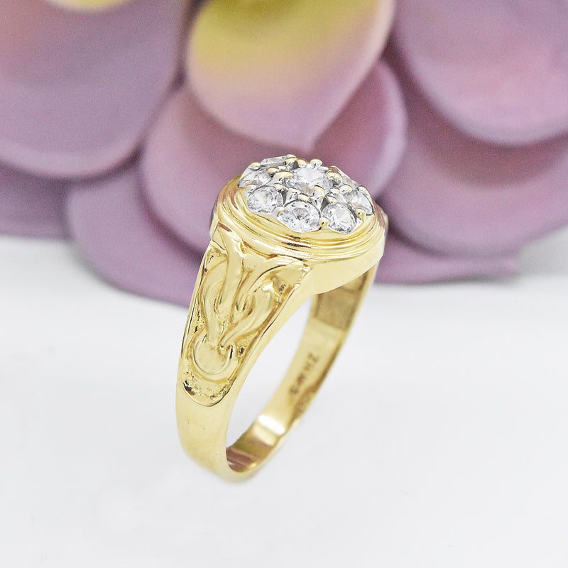 10k Yellow Gold Estate CZ Cluster Ring Size 12