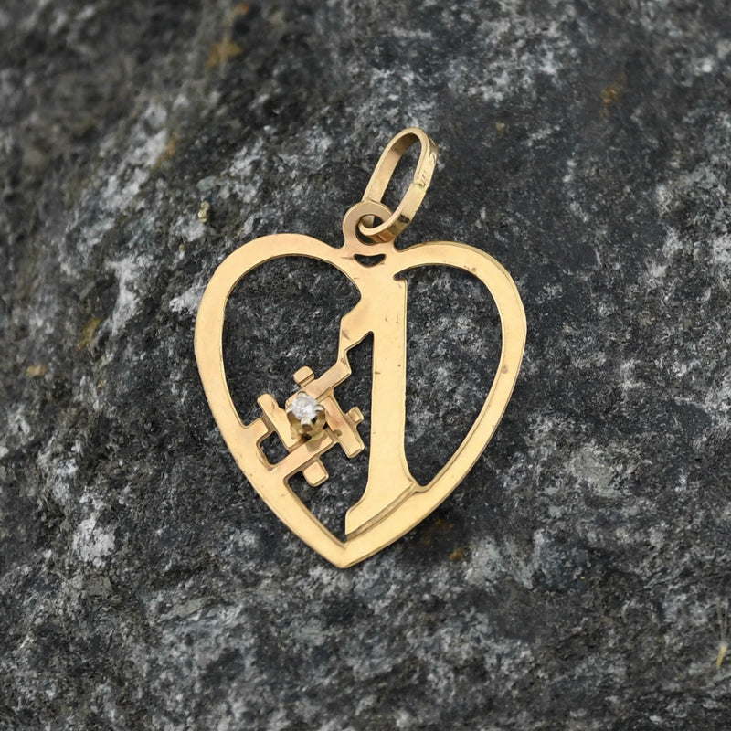14k Yellow Gold Estate Diamond #1 Heart Pendant