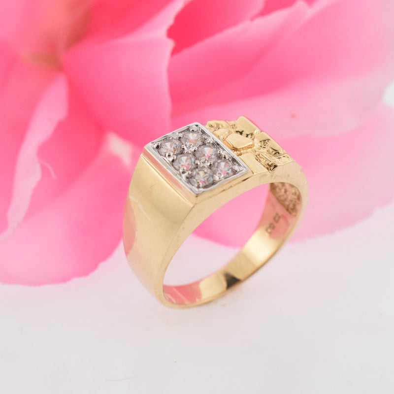 10k Yellow Gold Estate Nugget Textured CZ Ring Size 12.25