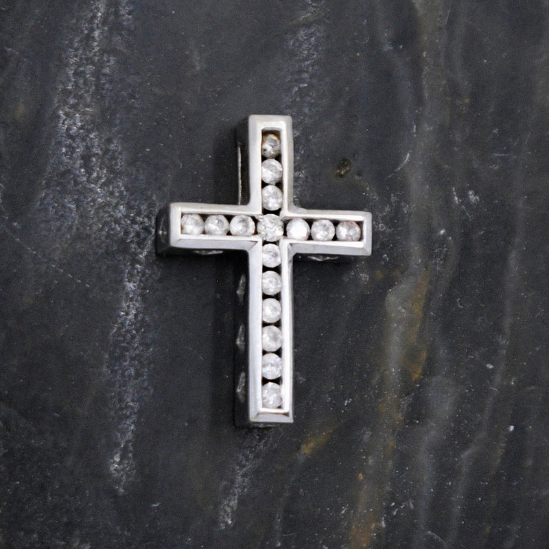 14k White Gold Estate Heart Design Diamond Cross Religious Pendant