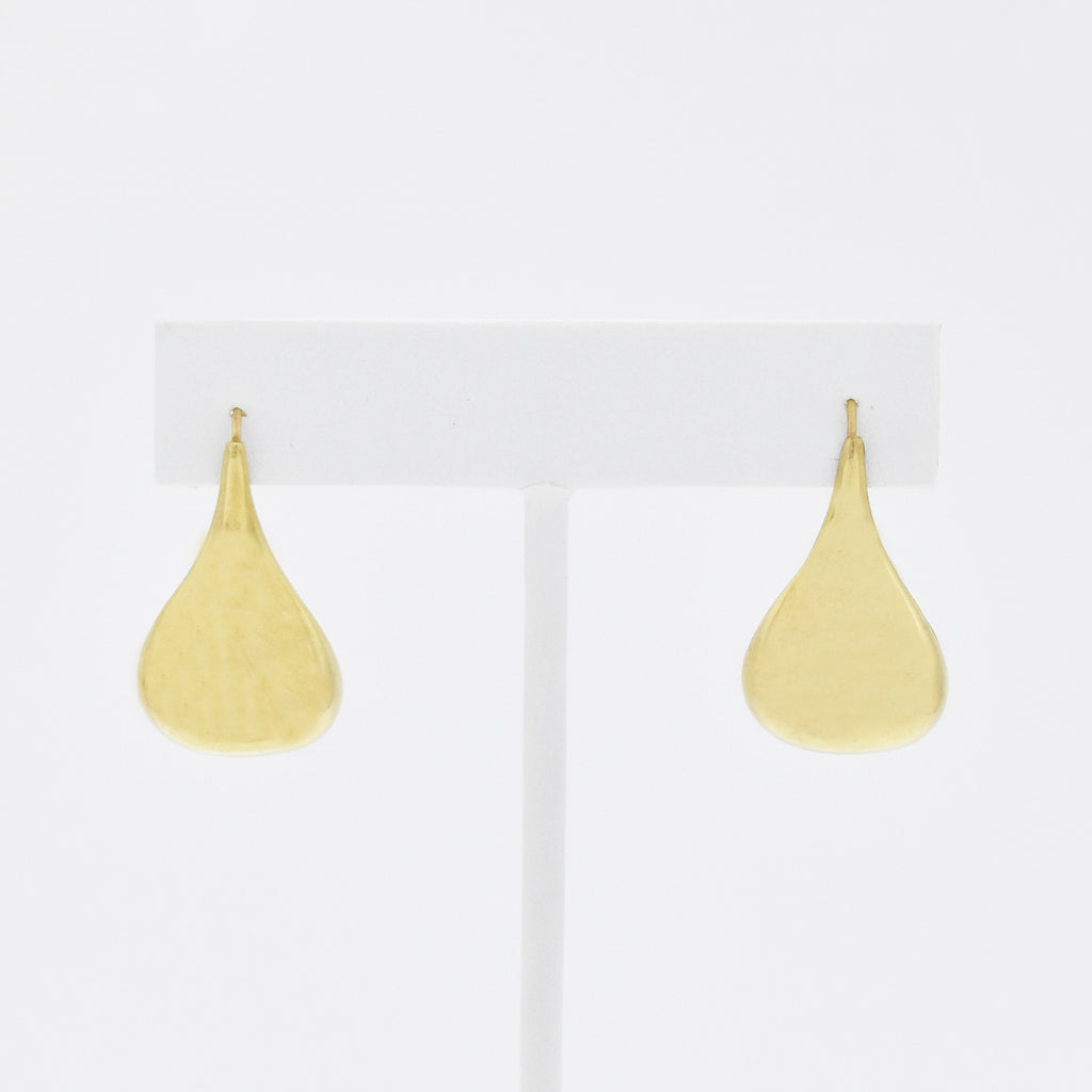 14k Yellow Gold Estate Teardrop Wire Back Earrings