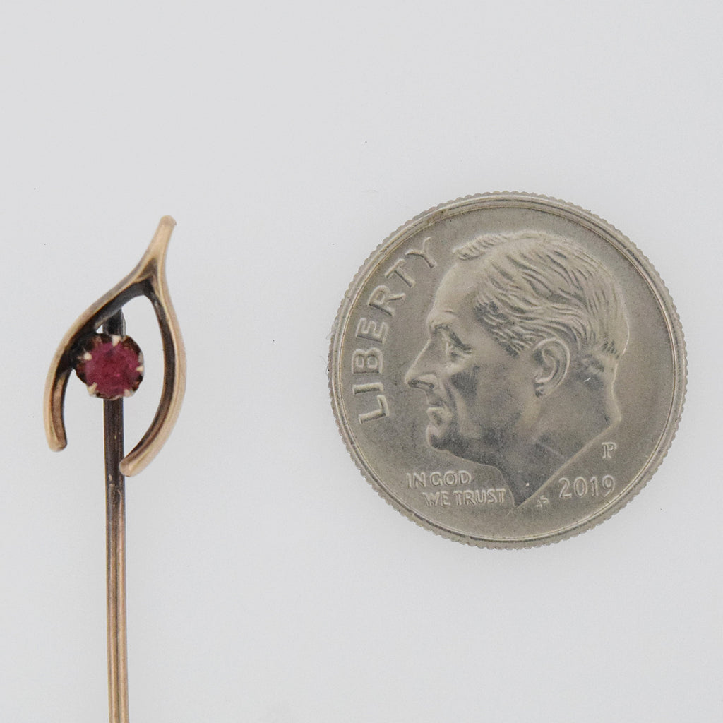 10k Yellow Gold Antique Garnet Wish Bone Stick Pin