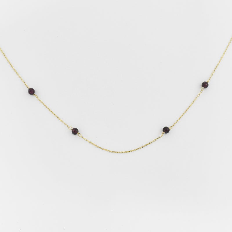 "14k Yellow Gold Estate 17.5"" Rolo Link Garnet Ball Necklace"