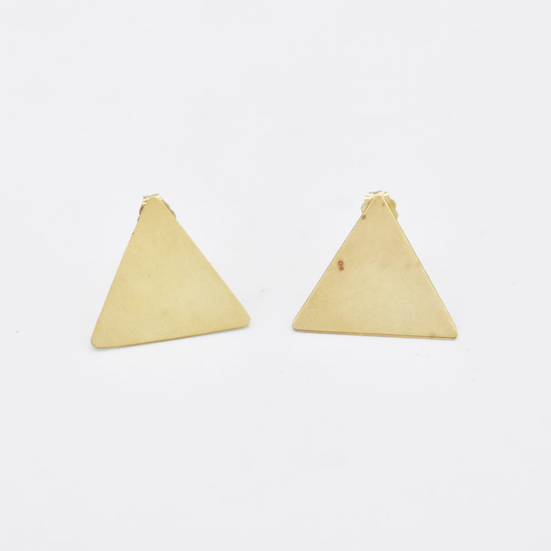 14k Yellow Gold Estate Triangle Post Earrings