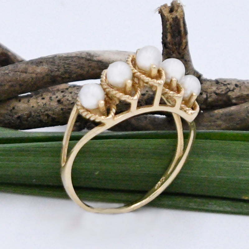 10k Yellow Gold Estate Open Work Pearl 3.5 mm Ring Size 8.5