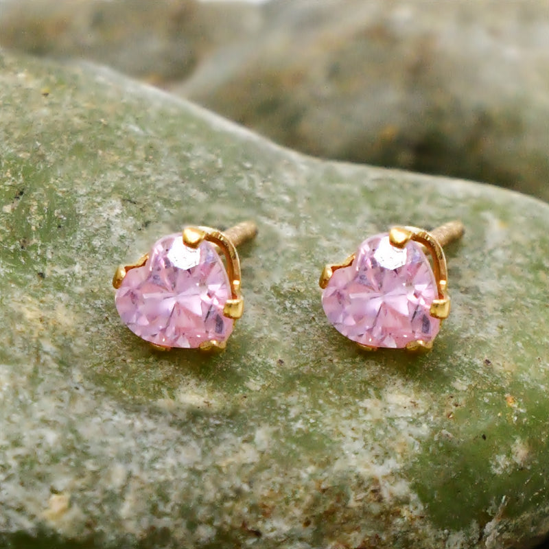 14k Yellow Gold Estate Heart Morganite Gemstone Post Earrings