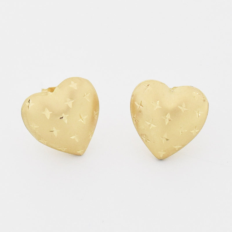 14k Yellow Gold Estate Diamond Cut Heart Post Earrings