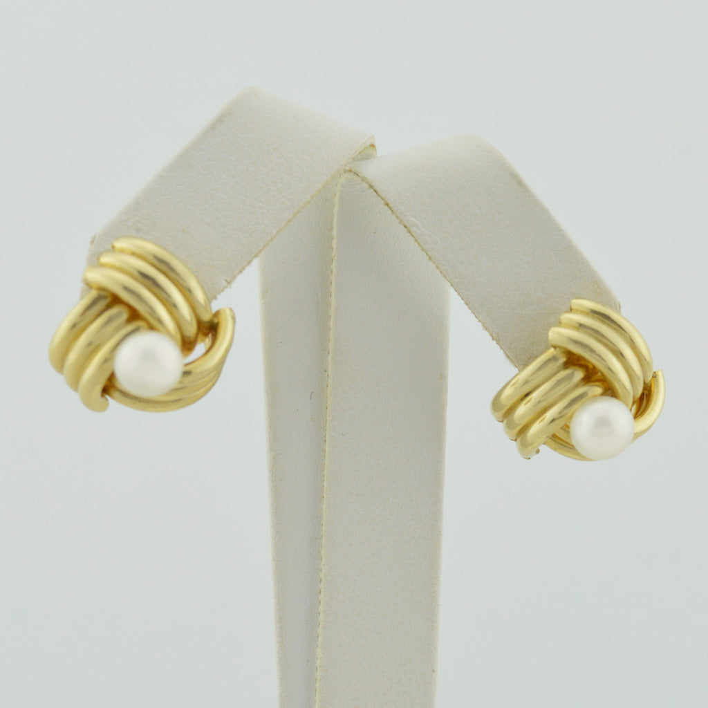 14k Yellow Gold Estate Love Knot Pearl Post Earrings