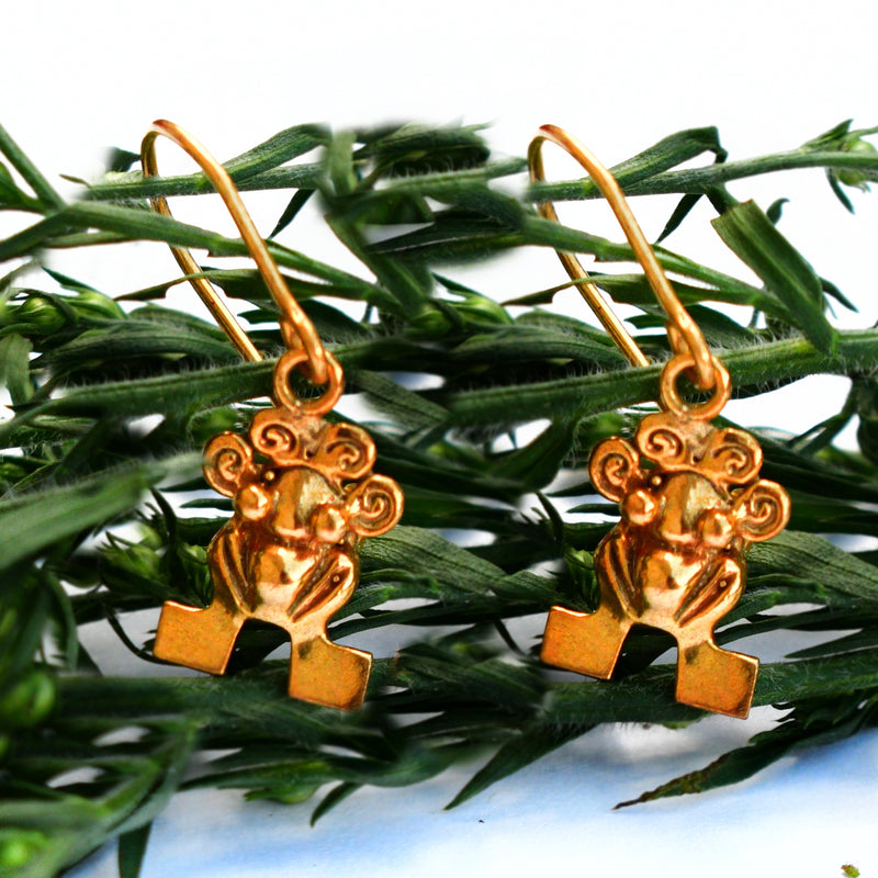 18k Yellow Gold Estate Pre Columbian Frog Figure Wire Back Earrings