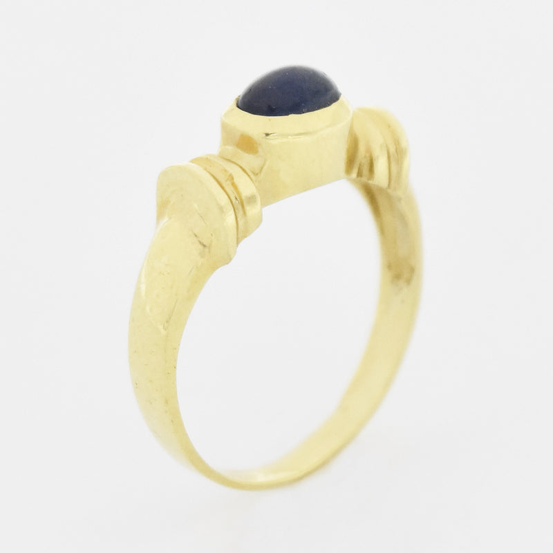 14k Yellow Gold Estate Cabochon Sapphire Gemstone Ring Size 6.25