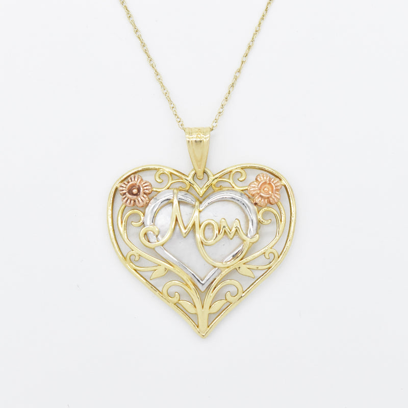 "10k Tri Colored Gold 18"" Mother of Pearl Heart Mom Necklace"