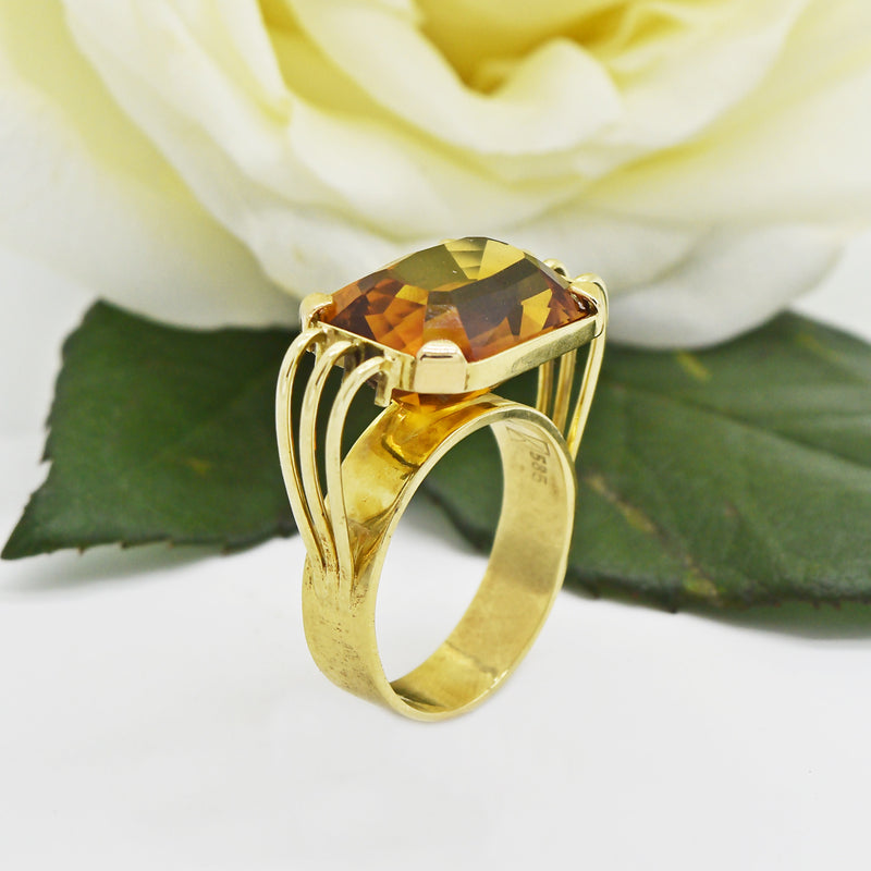 14k YG Open Work Mid Century Modern Citrine Tier Ring Size 10