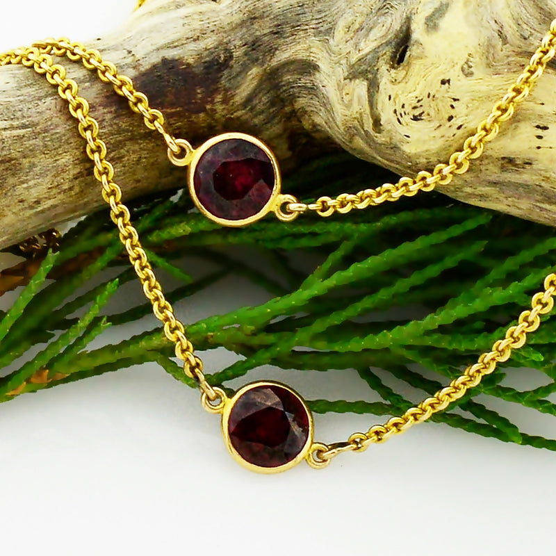 "14k Yellow Gold Vintage Garnet Watch Chain Necklace 27"" Long"