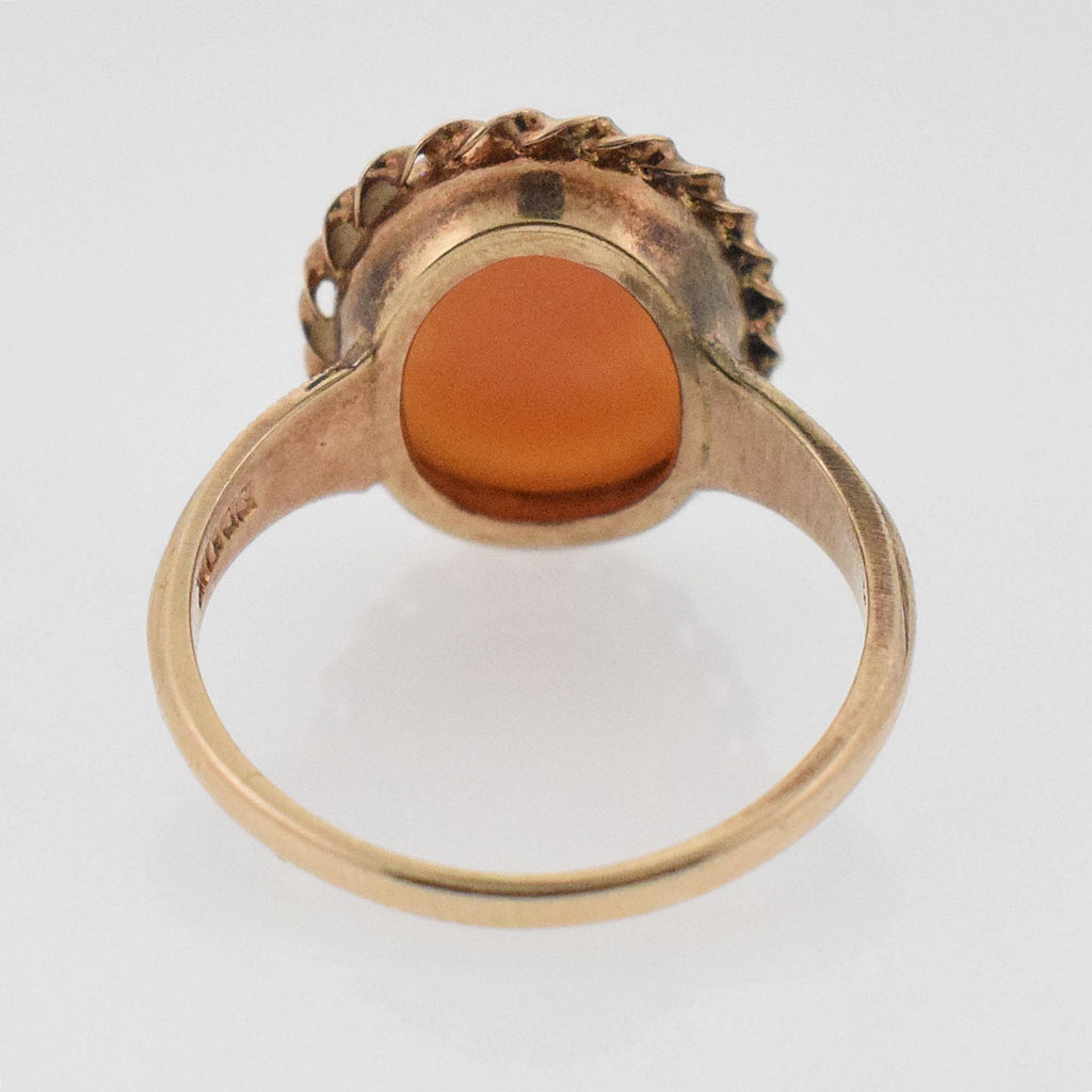 10k YG Vintage Textured Band Cameo Ring Size 5.5