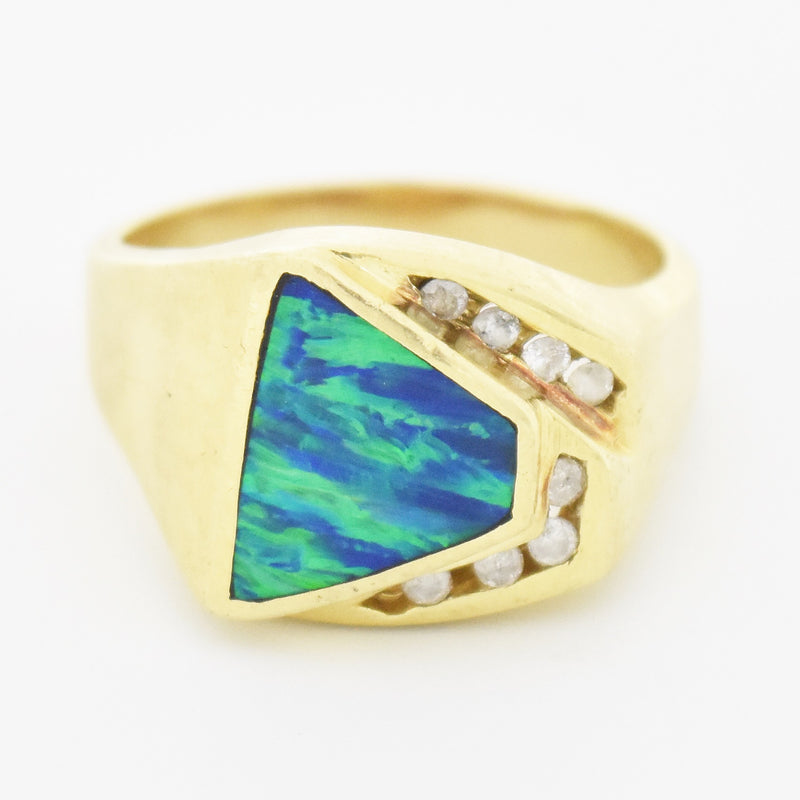 14k Yellow Gold Modern Style Inlaid Opal & Diamond Ring Size 11.75