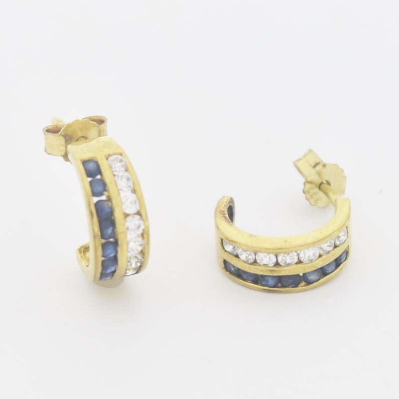 9k Yellow Gold Estate Sapphire & White Gemstone 1/2 Hoop Post Earrings
