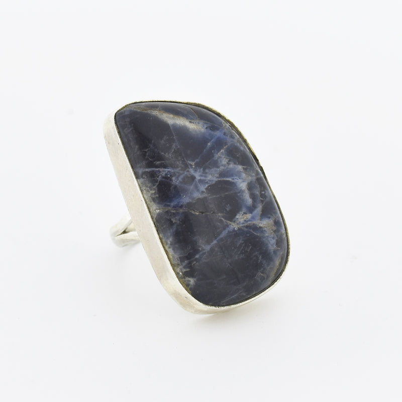 Sterling Silver Abstract Blue & White Jasper Stone Ring Size 7.5