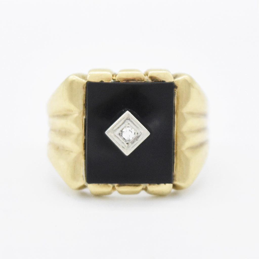 10k Yellow Gold Antique Black Onyx & Diamond Ring Size 11