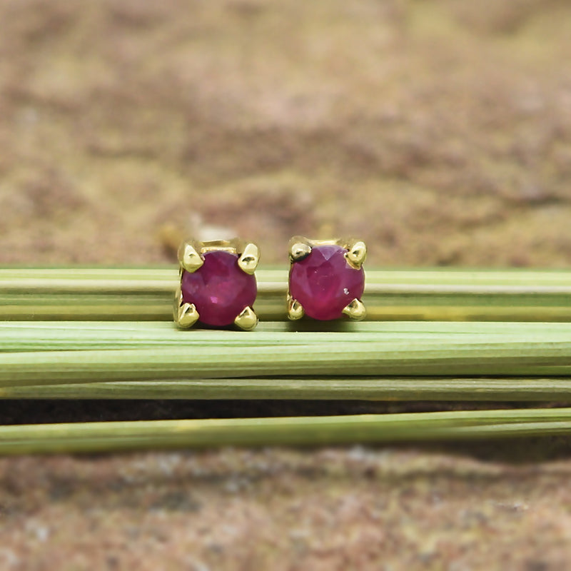10k & 14k Yellow Gold Estate Ruby Post Earrings