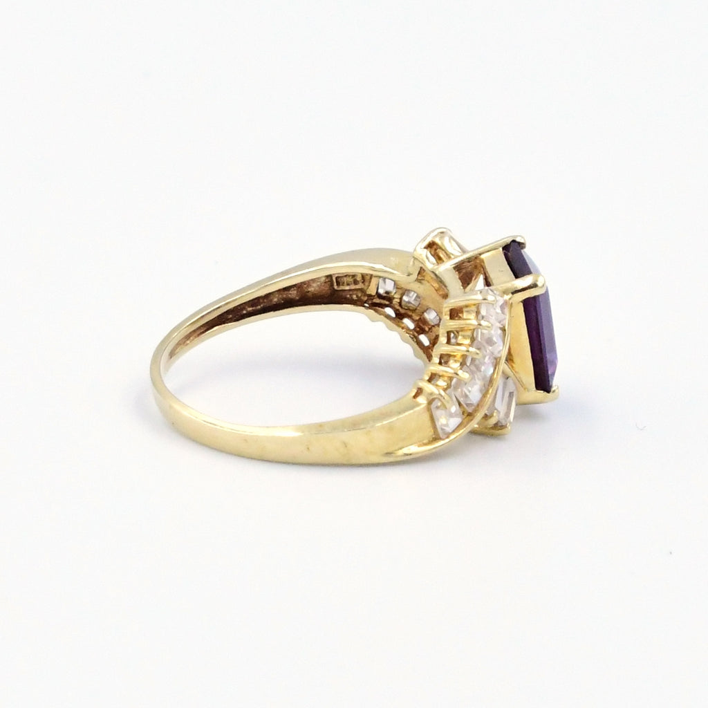 14k Yellow Gold Estate Open Work Purple Sapphire & CZ Ring Size 9