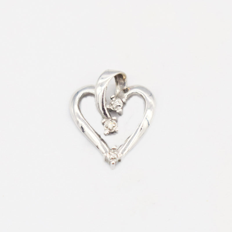 14k White Gold Estate Open Diamond Heart Pendant