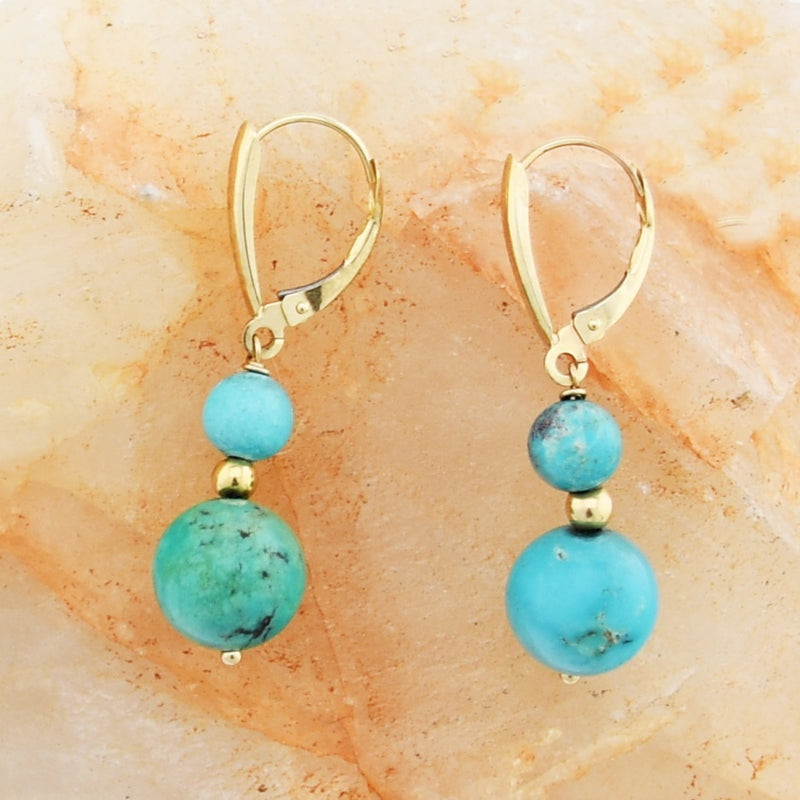 14k Yellow Gold Estate Turquoise Drop/Dangle Lever Back Earrings