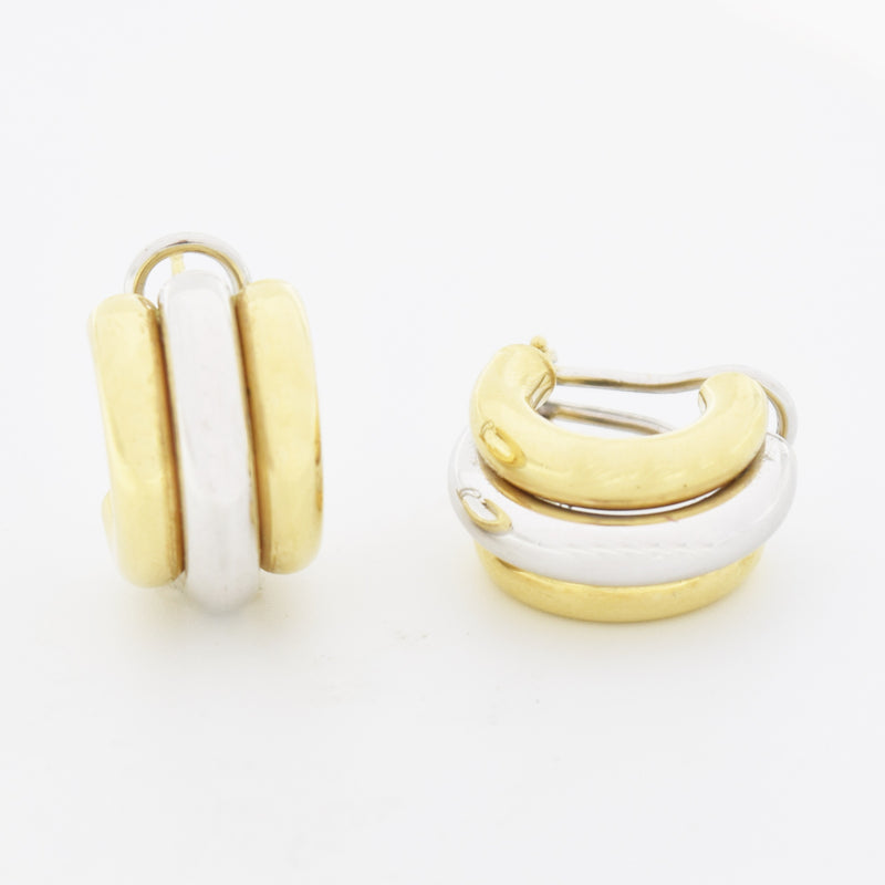 "14k Yellow & White Gold Estate 3/4"" Half Hoop Earrings"