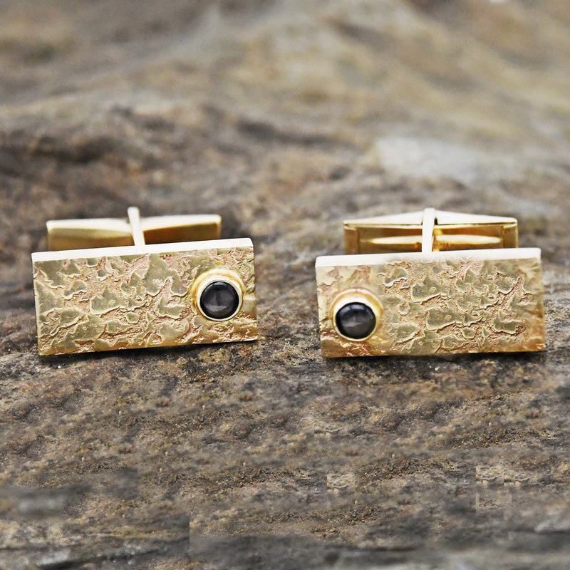 14k Yellow Gold Vintage Nugget Cabochon Black Sapphire Cufflinks