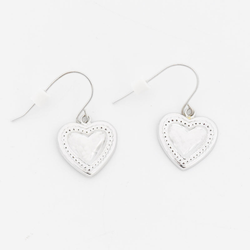 14k White Gold Estate Textured Heart/Love Wire Back Dangle Earrings