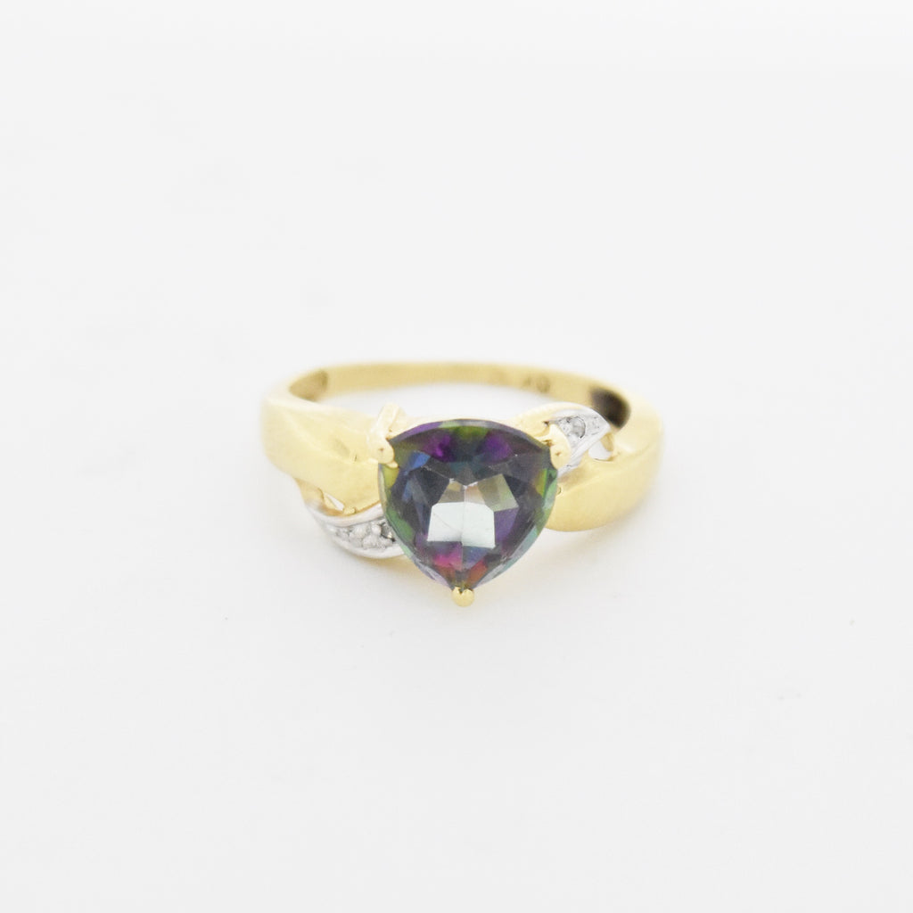 10k Yellow Gold Estate Mystic Topaz & Diamond Ring Size 8
