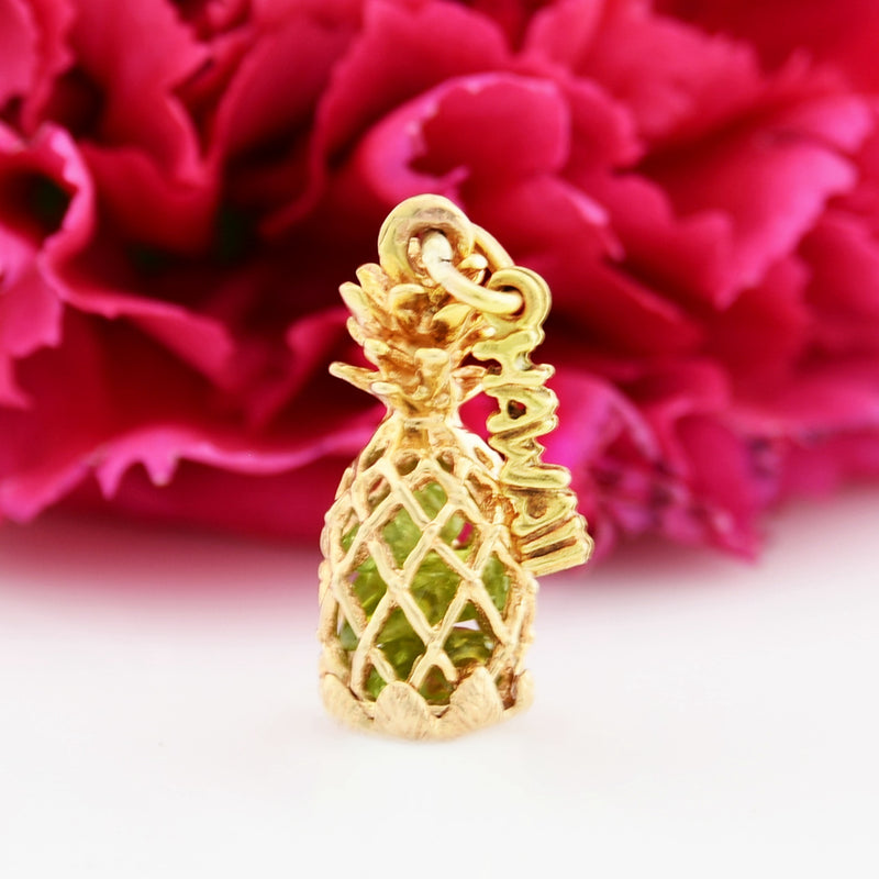14k Yellow Gold Estate Hawaii Pineapple Vacation/Keepsake Pendant/Chrm