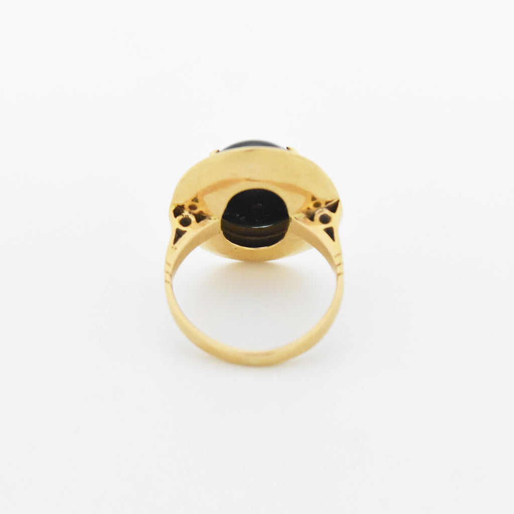 14k Yellow Gold Antique Oval Bloodstone Ring Size 5