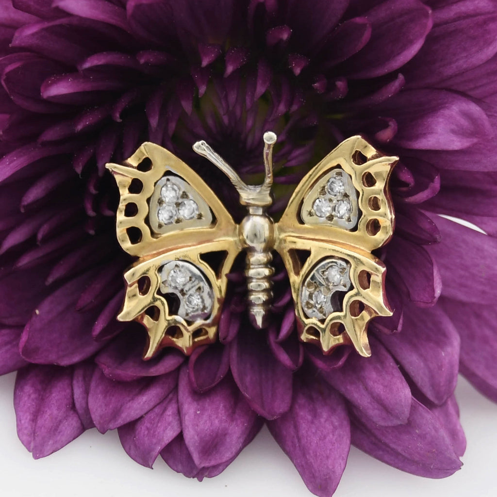 14k Yellow & White Estate Ornate Open Diamond Butterfly Animal Pendant