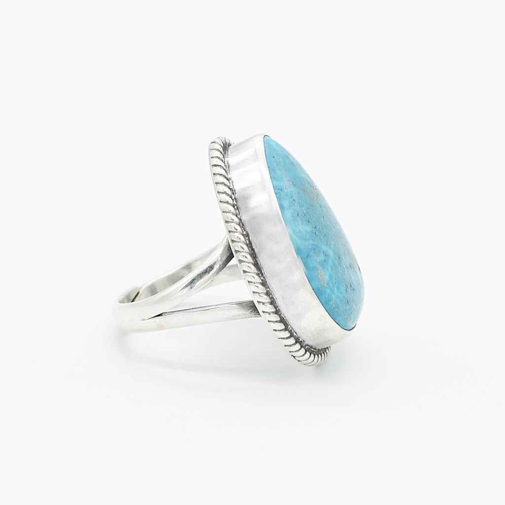 Sterling Silver 925 Carved Teardrop Turquoise Adjustable Ring