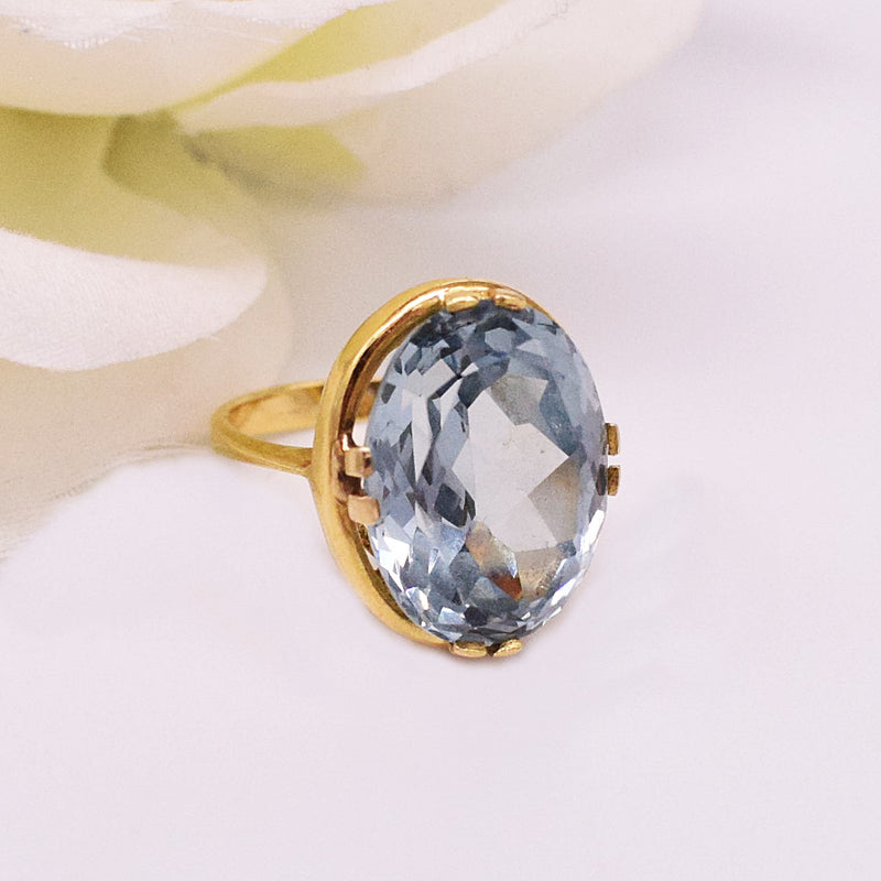 18k YG Filigree Large Oval Blue Topaz Ring Size 6