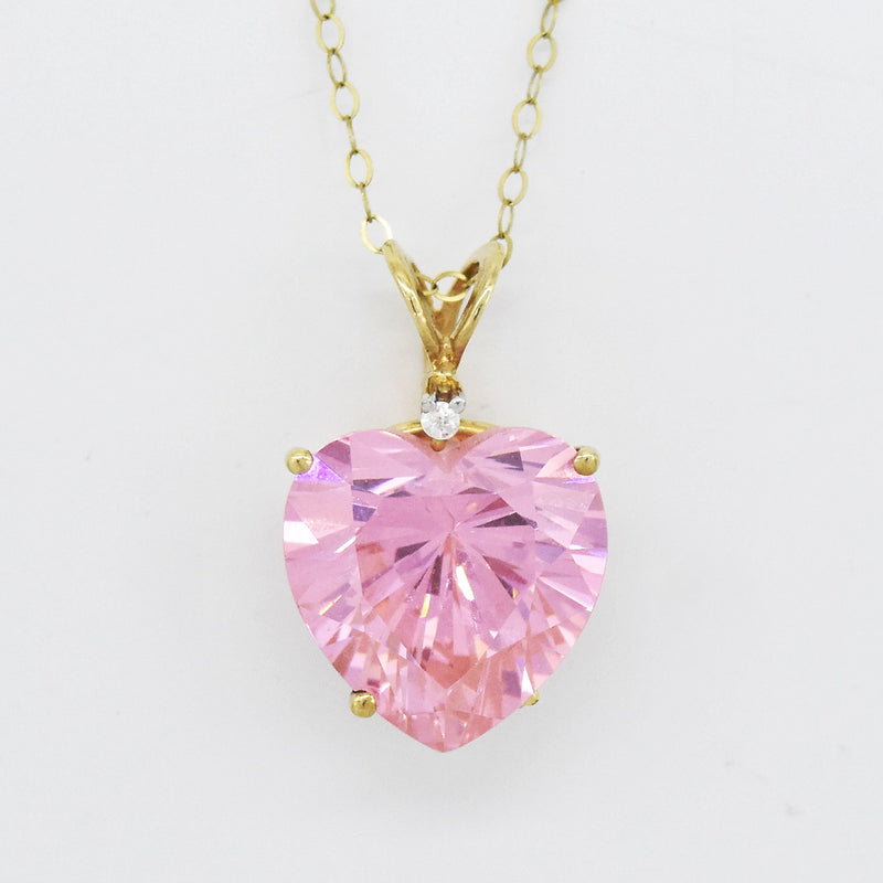 "10k Yellow Gold Estate 18"" Rolo Link Pink & White Gemstone Necklace"