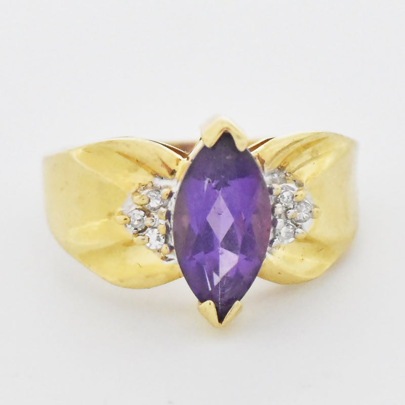 14k Yellow Gold Estate Bow Style Amethyst & Diamond Ring Size 7.25