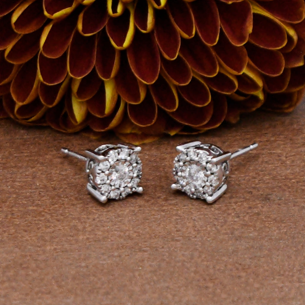 14k WG Estate Open Work Halo Diamond .30 tcw Studs/Stud Earrings