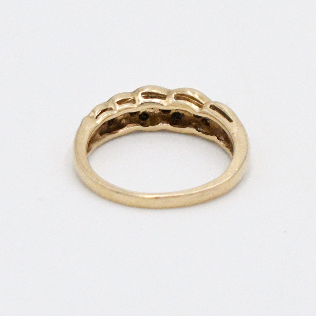 14k Yellow Gold Estate Swirl Chanel Set Diamond .35 tcw Band/Ring Sz 6
