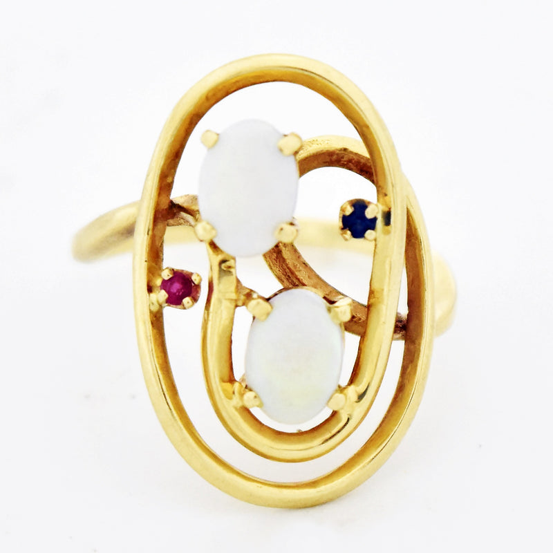 14k Yellow Gold Open Swirl Fire Opal Ruby & Sapphire Ring Size 8